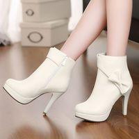 high heel ankle boots heels platform women leather boots autumn winter bowtie martin red bottom shoes woman beige pink white
