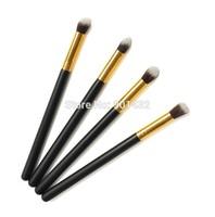 Hot Sale Multifunction 4pcs Makeup Brush Set Black Handle Gold Tube Synthetic Hair Makeup Tools Foundation Brushes Free shipping