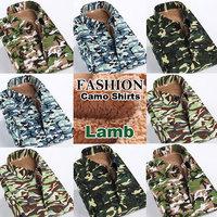 Camouflage Plus Size M-5XL 2014 New Winter Fashion Men Camo Shirts High Quality Lamo Snow Slim FIt Warm Shirts
