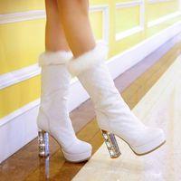 new 2014 mid calf ultra high heels boots women winter leather boots platform shoes woman fashion rhinestone plush black white
