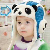 Free Shipping Kawaii Cartoon Earflap Baby Hats panda Design hat and Balls Decorated Crochet Winter Thickening  Kids Caps