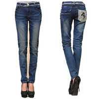 Fat women skinny jeans Plus size 32-40 lace pockets stretch denim pants large size slim elastic pencil pants 2014 free shipping!