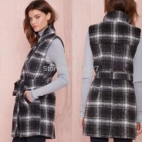 FREE SHIPPING new 2014 autumn winter Plus Size Simple fashion Plaid lapel pinched waist double pocket women wool coat XS-XXL