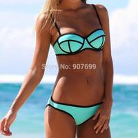 2014 Fashion Neoprene Ladies Bikini, Sexy Women Swimwear,Push Up Triangl Bikini, Girls Swimsuit, Five colors,S/M/L,