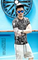 XNAN 2014 new Graffiti Lycra cotton round neck short sleeve t-shirt T2027 T shirt Handsome Comfort T-shirt For Metrosexual men