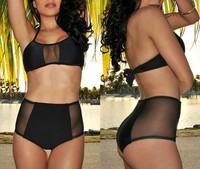 Mesh Black High Waist Sexy Bikini, Hot 2014 Women Swimwear, Fashion Swimsuit, S-L, Top Quality