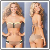 2014 Sexy Women Bikini, Zipper Patchwork Ladies Swimwear, 80% Nylon and 20% Lycra,Pink,XS-XL,Fashion Swimsuit,Top Quality