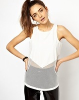 Free Shipping Summer New Fashion Sexy Hollow Out Splicing Back Zipper Sleeveless Vest