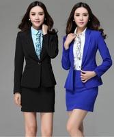 New Uniform Style 2014 Autumn Winter Professional Business Work Wear Suits Blazer And Skirt Formal Office Ladies Femininos Set