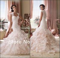 New Designer Mermaid Sweetheart Lace Ruffle Organza Luxury Wedding Dresses vestidos de noiva Free Shipping