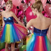 Sexy Colorful Rainbow Sweetheart A line Mini Organza Cocktail Dress E181