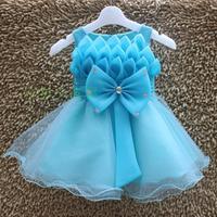 Retail+New 2014 Children girls Frozen Elsa Anna evening dress,Lovely Bow Flower baby party dress,kids wedding clothing,3-8 Year