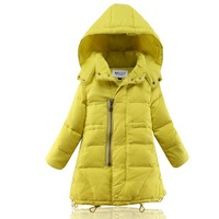 Free shipping  2014 New  Children Down  Girls  Thick cotton  Long section of the Kids  Girl's Down Jackets