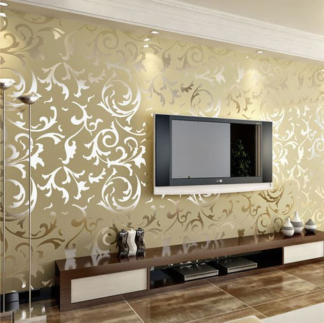 Luxury classic silver grey wallpaper high quality vintage for Wallpaper of home wall