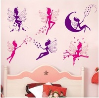 Hot Sale 2014 New Style Angel Purple Red Home Decal Mural Removable Vinyl Art Wall Sticker Free Shipping