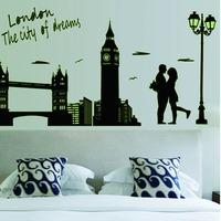 Hot Sale 2014 Romantic Couple London Bridge Belfry Luminous Paste Wall Stickers Removable Wall Decor Free Shipping