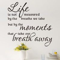 """Hot Sale 2014 """"Lift Is Not Measured By The Breaths"""" Quote Wall Stickers Waterproof Removable Wall Decor Free Shipping"""
