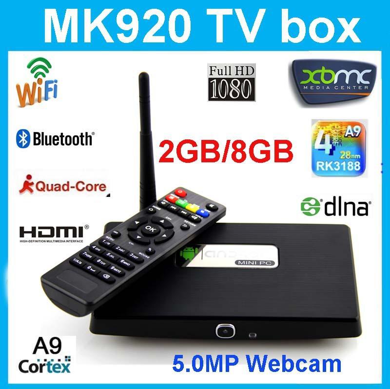 Android Smart TV Box Streamer Quad Core Rk3188 Android 4.2.2 KITKAT 2GB/8GB Camera Skype WiFi Bluetooth XBMC Mini PC 1080P HD(China (Mainland))