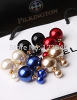Double faced fashion earring fashion pearl ear studs  double faced pearl stud earring free shipping  beads ear cuff studs ball