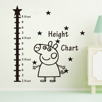 Hot Sale 2014 Peppa Pig Cut Pig And Height Table Wall Stickers Witness The Growth Of your Kids Wall Decor Free Shipping