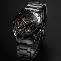 Classic Shenhua Brand Men's Cacual Automatic Self-Wind Mechanical Skeleton Hollow Black Full Steel Analog Wrist Watch Relogio