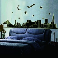 Hot Sale 2014 Fluorescent city Luminous Living Room Bedroom Background Wall Stickers PVC Removable Wall Decor Free Shipping