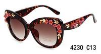 2014 New Arrival Vintage Flower Frame Sunglasses Women 's fashion Cat Eye  Sunglasses oculos de sol feminino UV400 glasses 4230