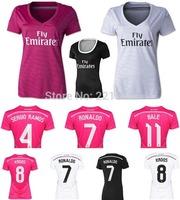 KROOS Ronaldo 14-15 Real Madrid away pink women soccer football jersey 2015 top Thai quality JAMES woman soccer uniforms jerseys