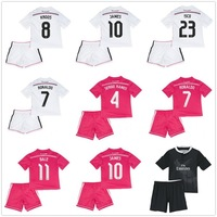 Ronaldo JAMES 14/15 Real Madrid home and away kids soccer football jersey + Shorts 2015 best quality Children soccer uniforms