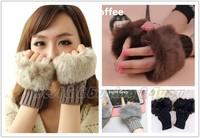 Cute Womens Girls Fingerless Winter Warm Wrist Knitted Faux Wool Mitten Gloves HA-0001