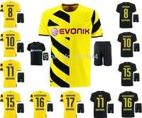 2014/15 Borussia Dortmund BVB home yellow soccer football jersey + Shorts best quality Reus Hummels 2015 soccer uniforms jerseys