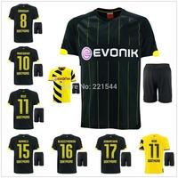 Reus Hummels 14/15 Borussia Dortmund BVB away black soccer football jersey + Shorts best quality 2015 soccer uniforms jerseys