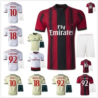 new 14/15 AC Milan home soccer football jersey + Shorts EL SHAARAWY best quality 2015 soccer uniforms jerseys