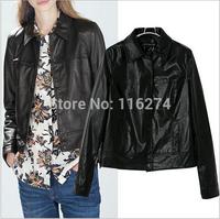 Cheap Fashion Black Leather Women Ladies Jacket Coat Motorcycle Locomotive Suit Autumn Jackets Coats With Pockets MYK046