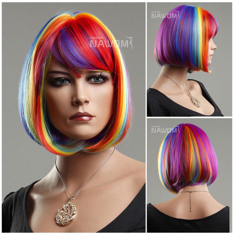 Cabeça do golpe do laço do cabelo bun hot Bob peruca de alta qualidade celebridade feminina do arco-íris perucas Halloween peruca(China (Mainland))