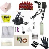 Complete Tattoo Kit 1 Machine Gun 40 Color Inks 10 Needles Power Supply Set