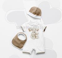 2014 New Autumn Summer Baby Kids Short Sleeve Cotton Romper Hat 2Pcs/Set Baby Clothing 0-9M New Born Brand Design High Quality