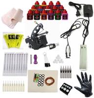 Complete Tattoo Kit 4 Machine Guns Set Equipment Power Supply 15 Inks