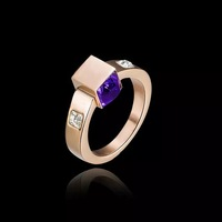 18K Real Gold Plated Party Finger Rings Elegant Brand Jewelry CZ Diamond Austrian Crystal For Women