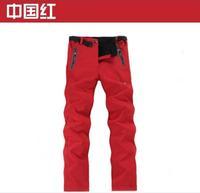 new 2014 brand fashion soft shell fleece women's skiing sports pants winter outdoor hiking camping waterproof climbing trousers