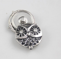 20pcs/lot new arrival silver plated metal animal shaped owl snap button charm fit ginger snap jewelry