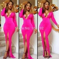 New Celebrity Bandage Long Sleeve Long  Dresses Summer  2014 Sexy  Women's Evening Floor Length Maxi Dress