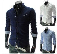 T1068 Free Shipping 2014 Promotion Men casual patchwork shirts Mens Slim fit Long sleeve dress shirt Korean Men's Cotton Camisa