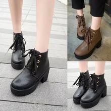 moda para mujer botines de plataforma grueso tacones altos para mujer botas de cuero cordón casual damas botas de otoño al por mayor(China (Mainland))