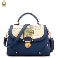 Handbag bolsas femininas 2014 brand high quality pu leather color block small women messenger bags cute crossbody bags for women