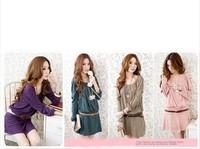 2014 new spring dress caught folding T-shirts Korean Ruili woolen dress leather conveying belt