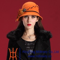 Autumn and Winter Women Hats 2014 Fashion Restoring Dress Wool Felt Hat Natural 100% Wool Small Plait Lace Short Brim Hat