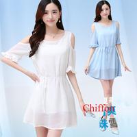 XXL Summer Women Chiffon Dress vestidos casual free shipping Sleeveless Knee-length Lolita Dress