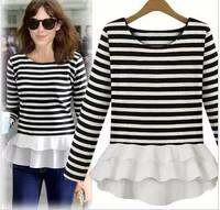 2014 new spring star striped knit stitching chiffon long sleeved T-shirt bottoming shirt