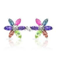 Gem earring Free shipping Nature real sapphire, ruby, amethyst ,garnet ,peridot stud earring Flower style  #14100806